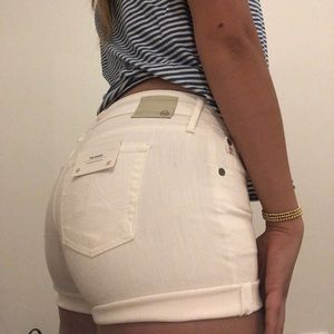 AG White Boyfriend Shorts